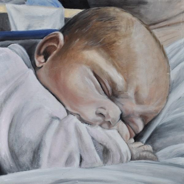 baby auf papas bauch baby foto als gem lde lbild. Black Bedroom Furniture Sets. Home Design Ideas